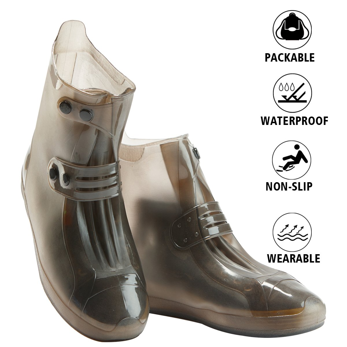 Shoes Cover - Waterproof Reusable Boots Cover Foldable Non-slip Rainstorm Rainy Day Rain Snow Gear Thicken Sole Boots Overshoes for Men Women Kids (XXL, Black)