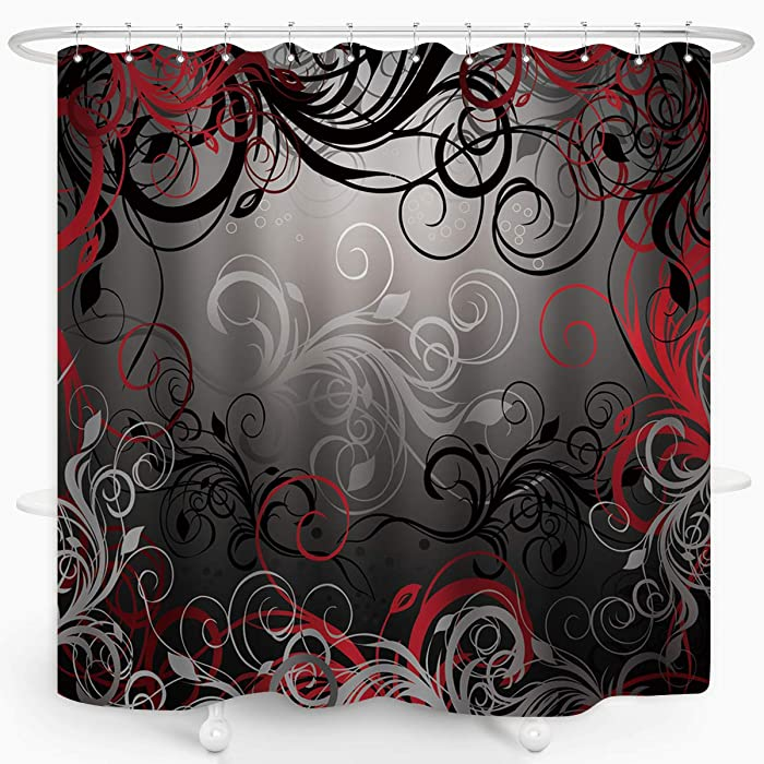 Red and Black Shower Curtain Mystic Magical Forest Modern Inspired Floral Swirls Leaves Bath Curtain Waterproof Fabric Bathroom Decor 72x72 Inch Plastic Hooks 12 PCS
