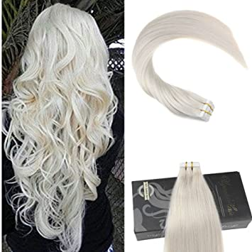 dcdd0408030d Amazon.com : Ugeat Dream 14inch Platinum Blonde Hair Extensions Tape in  Human Hair 40pcs/100Gram Remy Hair Tape in Extensions Silky Straight :  Beauty