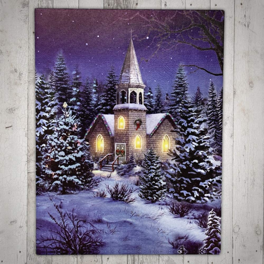 Banberry Designs Christmas Church At Night Picture With Led Lights Winter Scene Canvas Print Alle Produkte