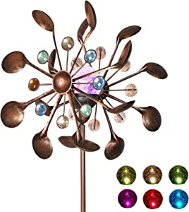 MorTime Solar Wind Spinner, 61 Inch Outdoor Wind Catcher with Metal Stake Solar Powered Wind Sculptures for Spring Garden Yard Lawn Patio Decoration