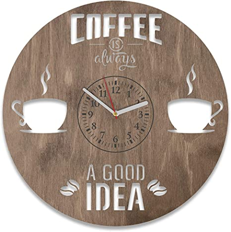 Amazon Com Kitchen Decor Coffee Wooden Clock 12 Inch Unique Gift For Men And Woman Coffee Time Wooden Clock Exclusive Birthday Gift Coffee Wall Clock Large Coffee Art Coffee New House Clock Home
