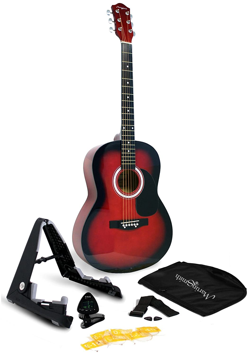 Martin Smith 6 String Acoustic Guitar SuperKit with Stand, Tuner, Gig Bag, Strap, Picks and Strings-Natural, Blue (W-101-BL-PK)