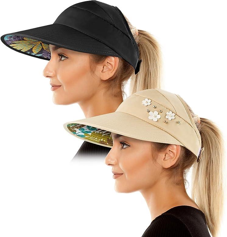 Sombreros de Visera de Sol para Mujeres Viseras Anchas Gorra de ...