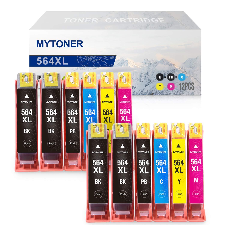 Mytoner 互換インクカートリッジ HP 564XL 564 XLインク 対応機種: Photosmart 5520 6520 7520 7525 B8550 Officejet 4620 Deskjet 3520 3522 Premium C309A(4 ブラック 2 PB/シアン/マゼンタ/イエロー、12パック)   B07PQR7WDL
