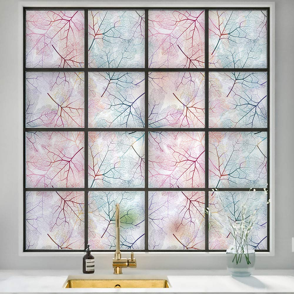 DKTIE Decorative Window Privacy Film Frosted Window Film Stained Glass Window Film Window Clings Static Cling for Home Bedroom Bathroom 17.7In.by 78.7In.