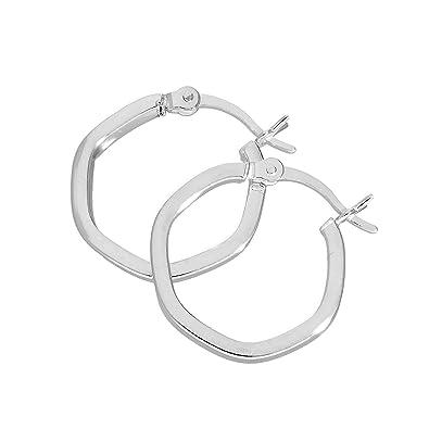 5ae4eed9a Sterling Silver Hexagonal Hoop Earrings: Amazon.co.uk: Jewellery