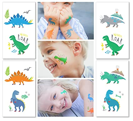 e2c53cd0c Hugo & Emmy Dinosaur Temporary Tattoos for Kids - Party Favors for Goodie  Bags for Birthdays