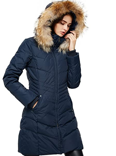027060387c2 Escalier Women Down Coat Winter Jacket with Fur Hooded Long Puffer Parka:  Amazon.ca: Clothing & Accessories