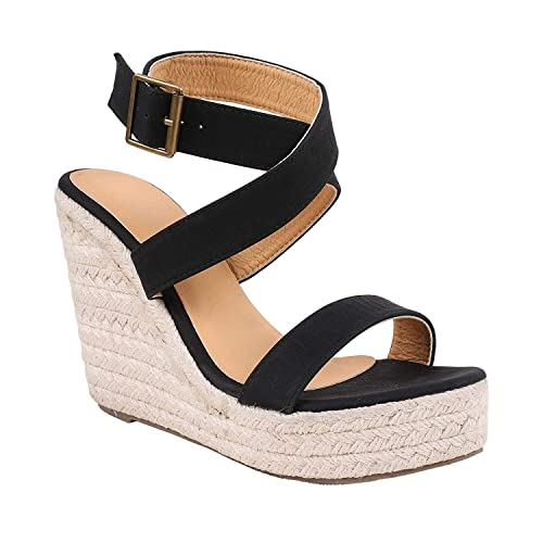 bad6bc2b72b Liyuandian Womens Open Toe Wedges Sandals Platform Espadrille Ankle Strap  Buckle Up Shoes