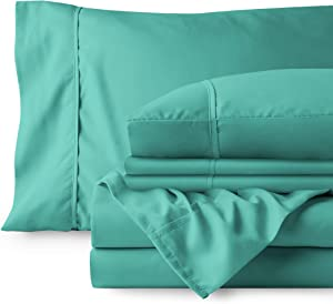 Bare Home 6 Piece 1800 Deep Pocket Bed Sheet Set - Ultra-Soft Hypoallergenic - 4 Pillowcases (Queen, Turquoise)