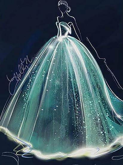 Diy Wedding Dress.Amazon Com Diy Wedding Dress Diamond Painting Square Full Drill