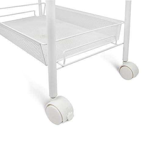 Leogreen - Carritos de Almacenamiento, Carrito Ahorrador de Espacio, 5 niveles, 104 x 46 x 27 cm, Blanco, Material: Hierro