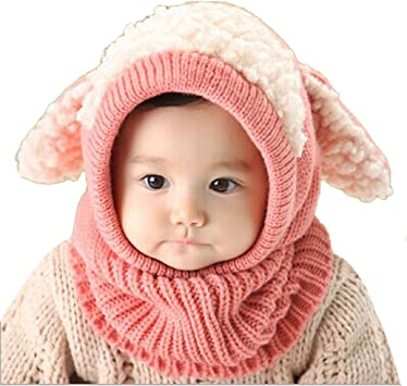 Unisex Cool Baby Toddler Winter Beanie Warm Hat Hooded Scarf Earflap Knitted Cap