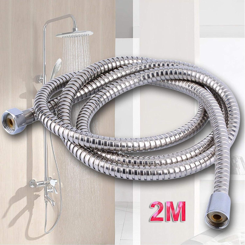 2, 5 Meter Edelstahl Chrom Flexible Badezimmer Bad Duschkopf Brauseschlauch Rohr Unterlegscheiben Meter Stainless Steel Chrome