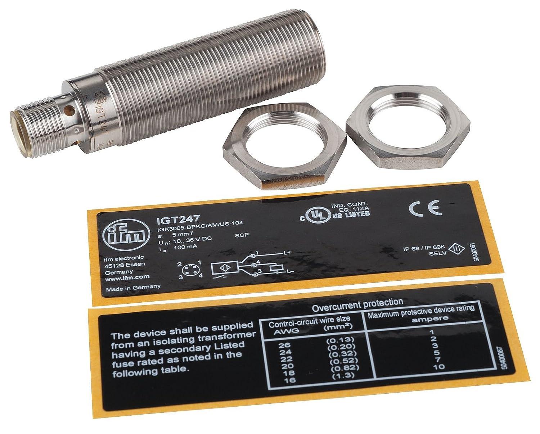 ifm - igt248 - cilíndrico sensor de proximidad, Metal Material Básico, 3 alambre NPN circuito tipo, no modo de salida: Amazon.es: Amazon.es