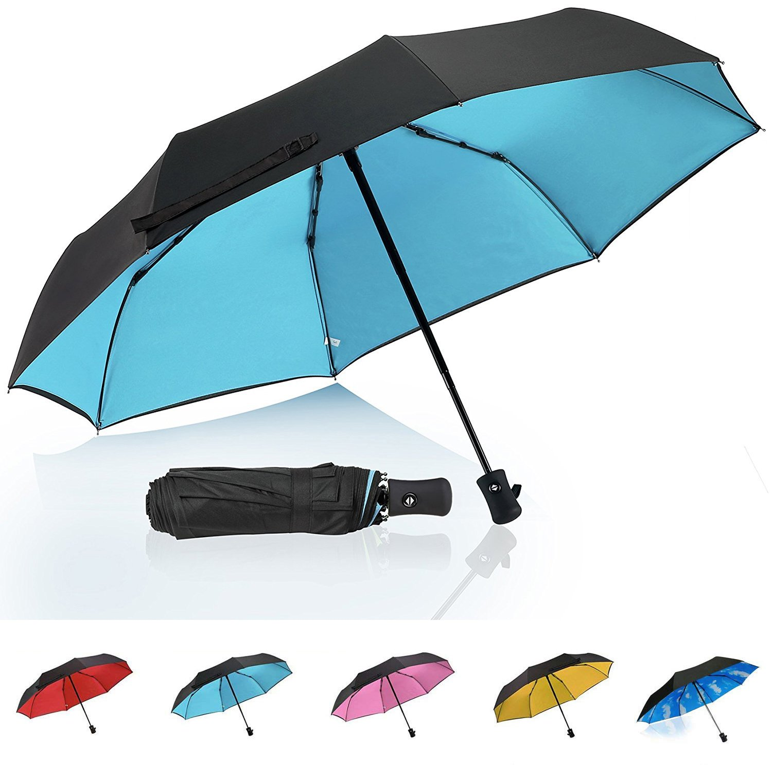 QHUMO Travel Umbrella Windproof with Double Layer, Collapsible Compact Umbrellas for Women and Men, 8 Ribs Auto Open Close Folding Umbrella - One Handed Operation (BLUE)