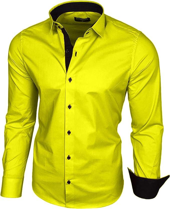 Baxboy B-500 - Camisa de manga larga para hombre, para negocios, tiempo libre, bodas, plancha, ajustada amarillo XXXL: Amazon.es: Ropa y accesorios