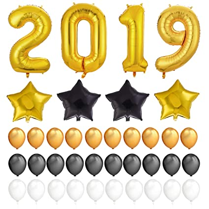 2019 balloons new year kit gold 2019 foil number balloons gold black star