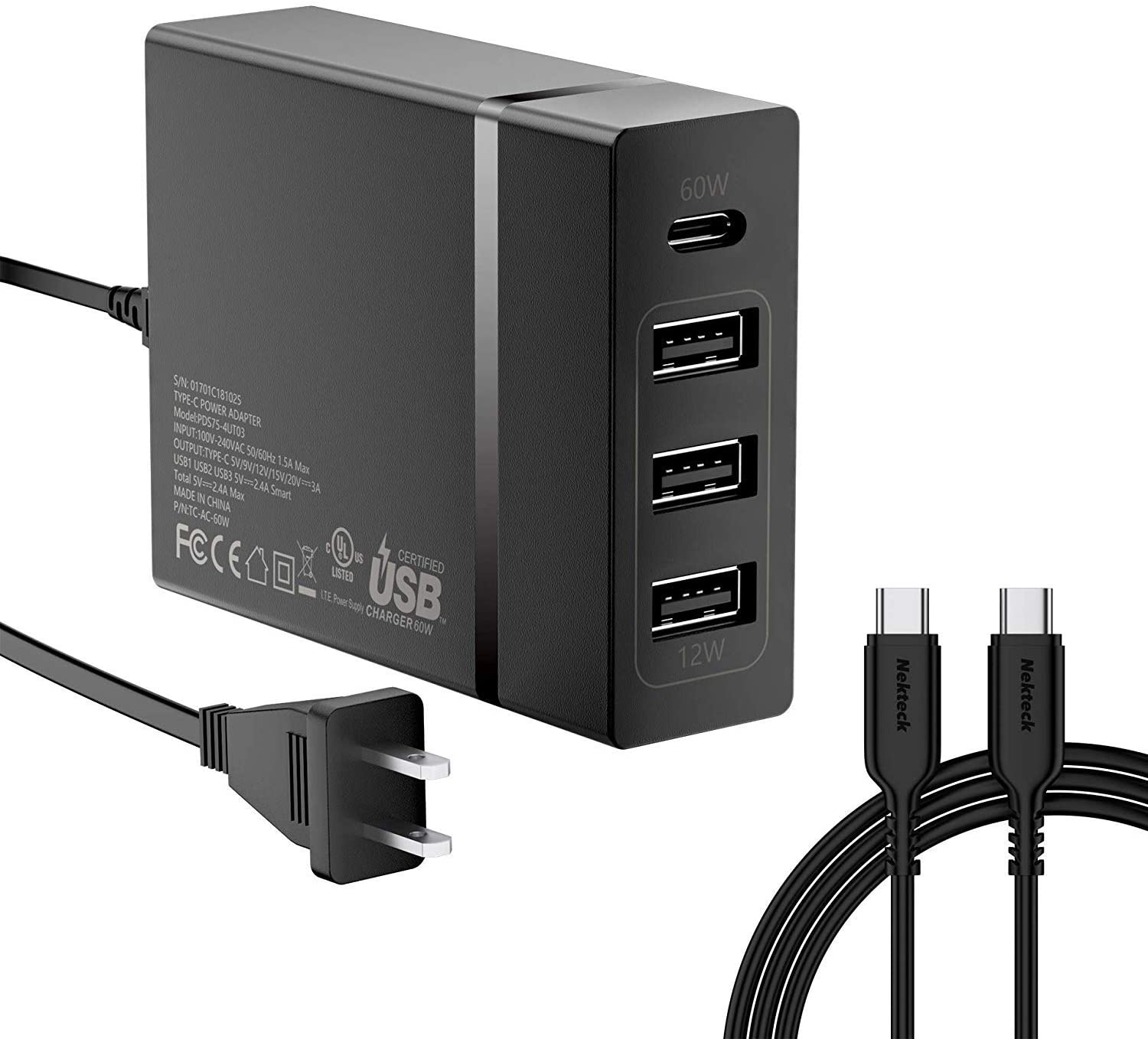 USB C Wall Charger, Nekteck 72W 4 Ports Desktop Charging Station, One 60W Type C PD Port for Laptops, MacBook Pro 13in/Air, XPS, iPad Pro 2018, HP ...