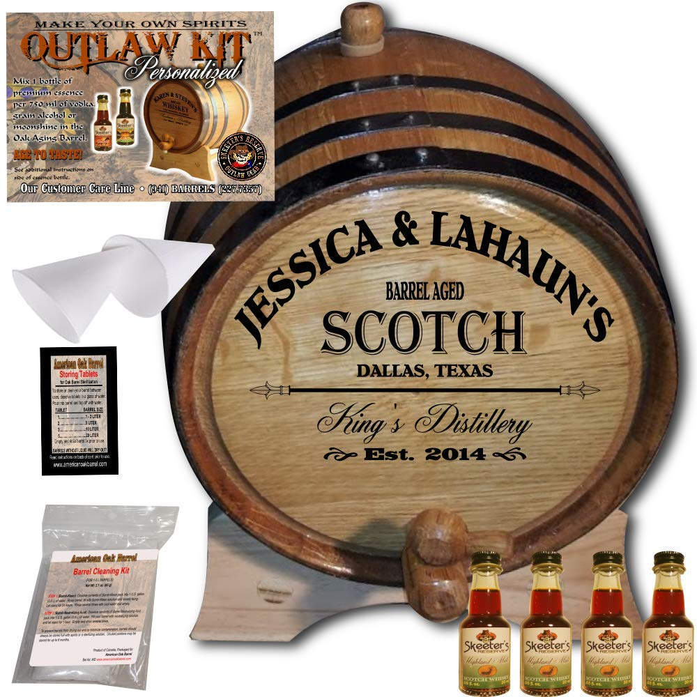 Personalized Whiskey Making Kit (061) - Create Your Own Highland Malt Scotch Whiskey - The Outlaw Kit from Skeeter's Reserve Outlaw Gear - MADE BY American Oak Barrel - (Oak, Black Hoops, 3 Liter)