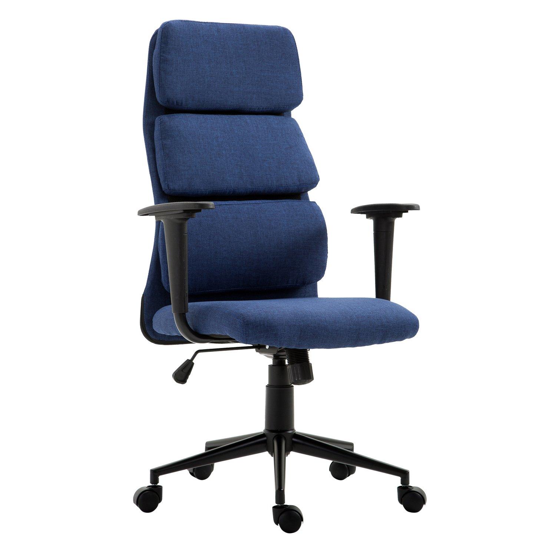 HOMCOM Lumbar Support High Back Desktop Computer Office Chair with Arms - Navy Blue
