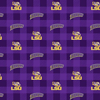 Sykel Enterprises NCAA Louisiana State Tigers Buffalo Plaid Fleece Fabric Purple//Yellow