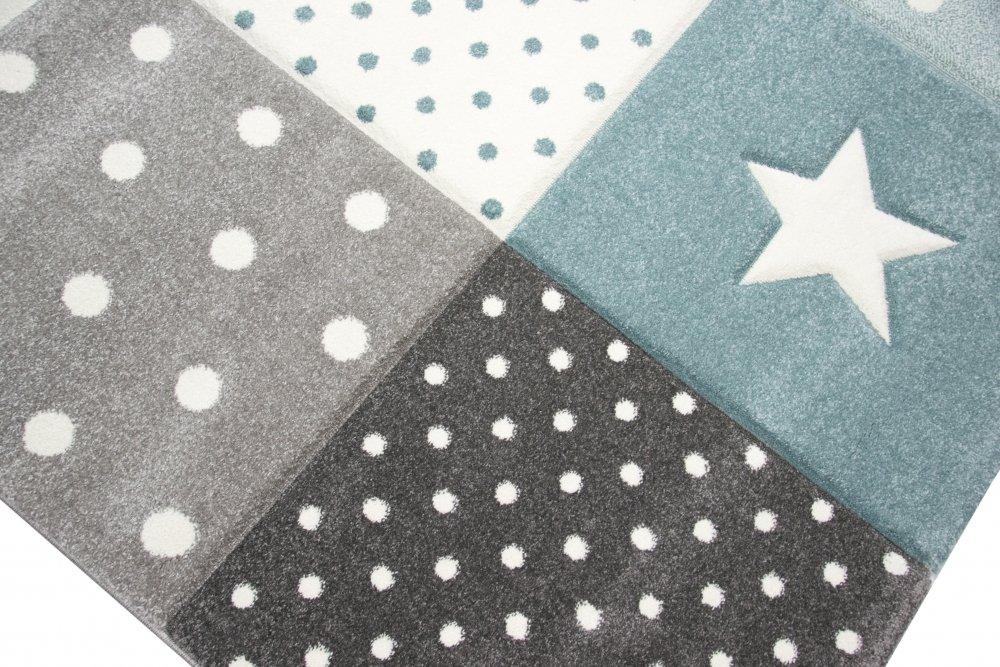 Kinderteppich Spielteppich Spielteppich Spielteppich Babyteppich Junge Stern Mond in blau hellblau türkis Größe 160x230 cm B079SZN4XZ Teppiche & Lufer cfcdca