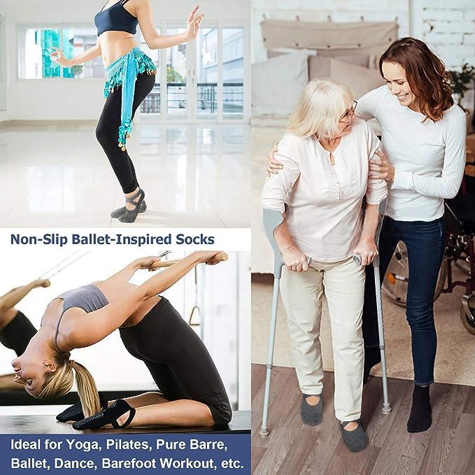 Amazon.com: Calcetines antideslizantes de agarre para yoga ...