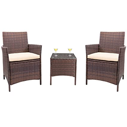 Homall 3 Pieces Wicker Outdoor Patio Furniture Set Clearance Rattan Sofa, Outdoor/Indoor Use - Amazon.com : Homall 3 Pieces Wicker Outdoor Patio Furniture Set