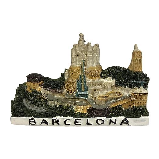 Imán de nevera Barcelona España 3D para recuerdos de viaje hogar y ...