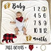Baby Monthly Milestone Blanket for Boy Girl, Large Personalized Photography Background Blankets, Thick Fleece for Mom Newborn Baby Shower Gifts + Bib + Frame (Bear Blanket, 43''x47'')