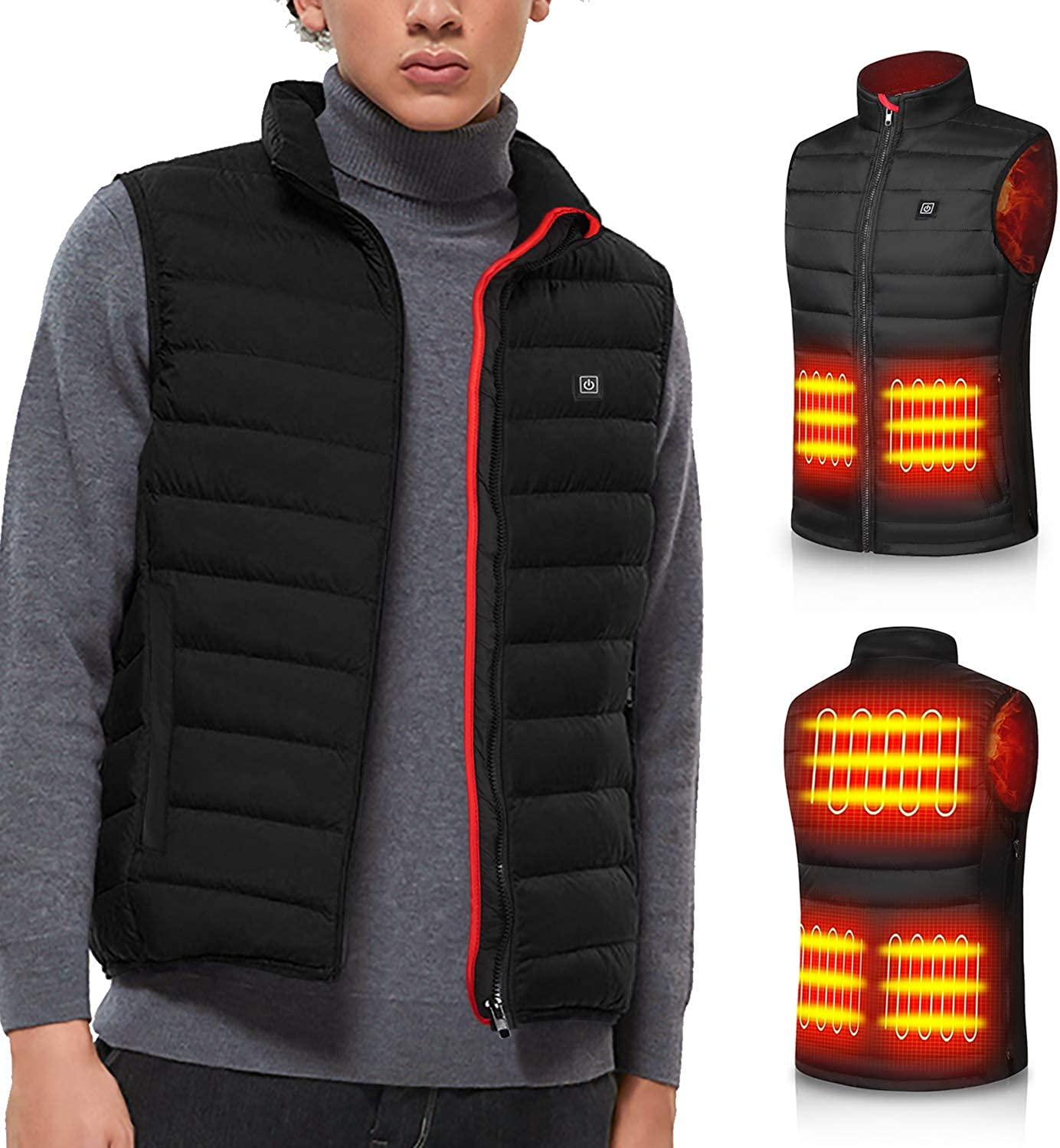 Heated Vest for Man Electric Heating Coat Jacket Warm Clothing for Winter(No Battery)