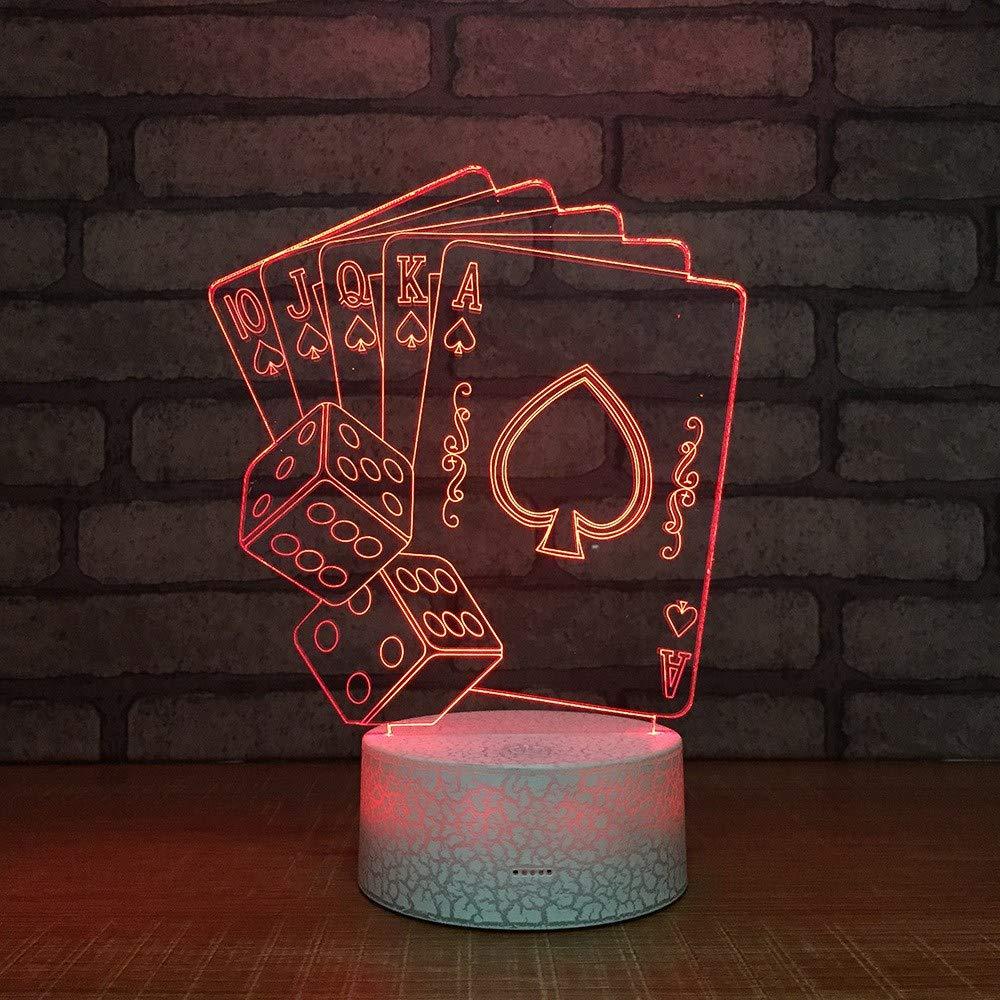 3 PACK, 3D optische Illusion Nachtlicht Poker LED Tisch Schreibtischlampe 7 Farbe automatisch wechselnden USB-Ladegerät Powerotfor Baby Schlafzimmer Dekoration Kinder Geschenk