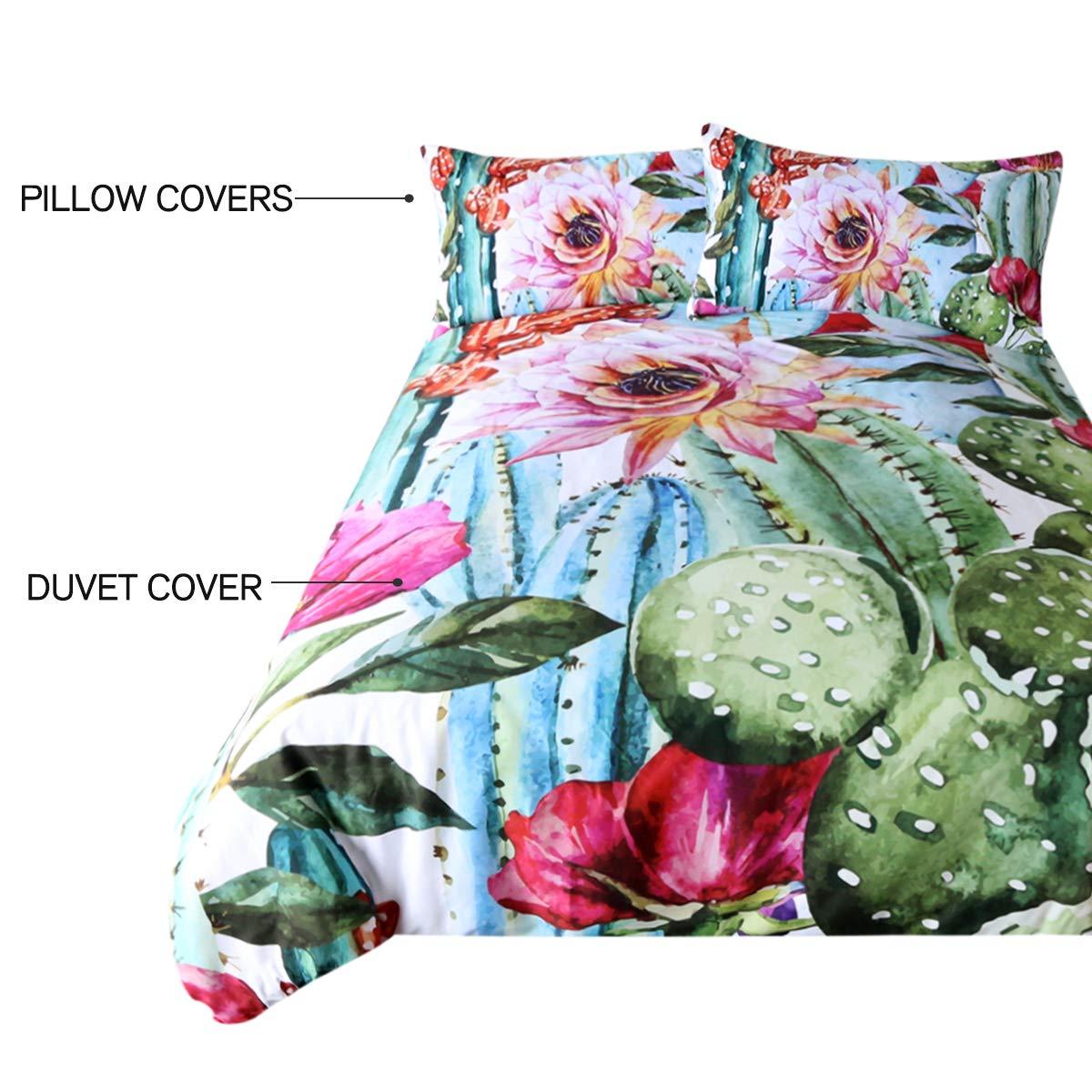 Twin Bright Cactus Pattern Bedding Set Green plants cactus Print 3 Pieces Duvet Cover Set Nature Art Prints Decor Collection