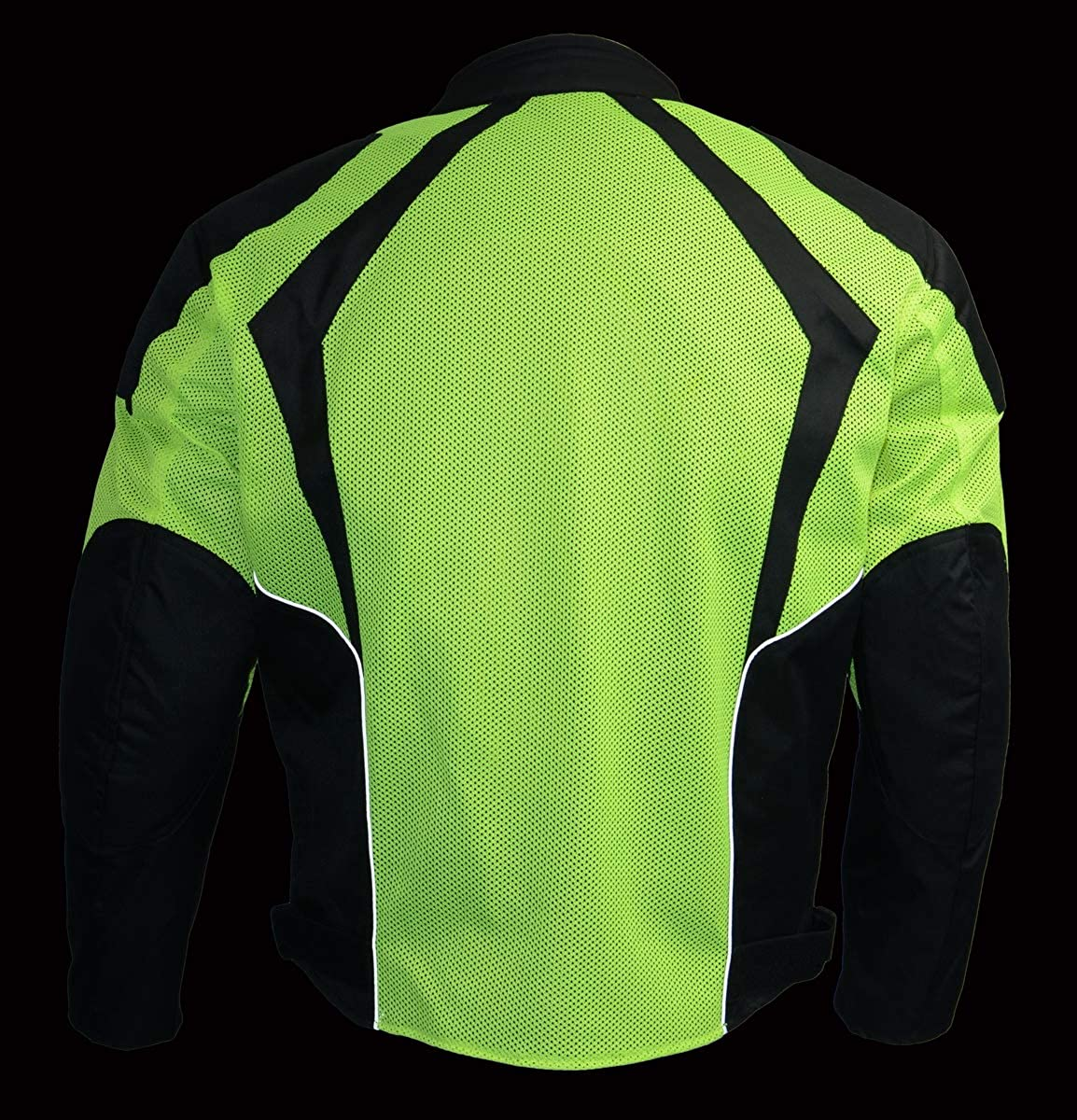 Milwaukee Leather MPM1793 Mens Armored High Vis Mesh Racer Jacket with Reflective Piping