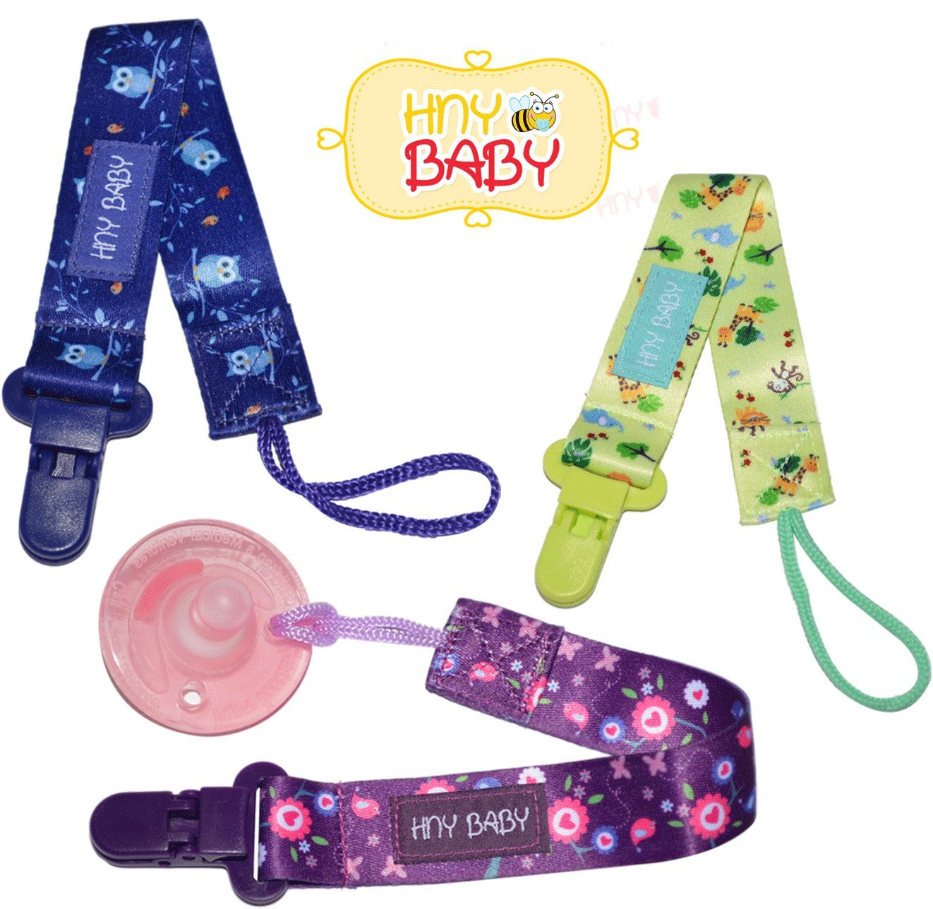 HnyBaby Pacifier Holder with Plastic Clip Universal fit to Pacifiers Soother Pacifier Leash Teether (Flowers)