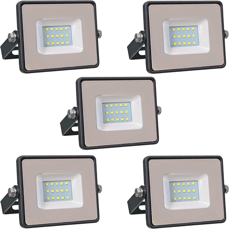 Conjunto de 5 - ZONE LED SET - 10W - Led Foco, Proyector Led - Luz Blanca (6400K) - 850 Lm - Equivalente incandescente 50W - Ángulo de haz 110° - Cuerpo negro