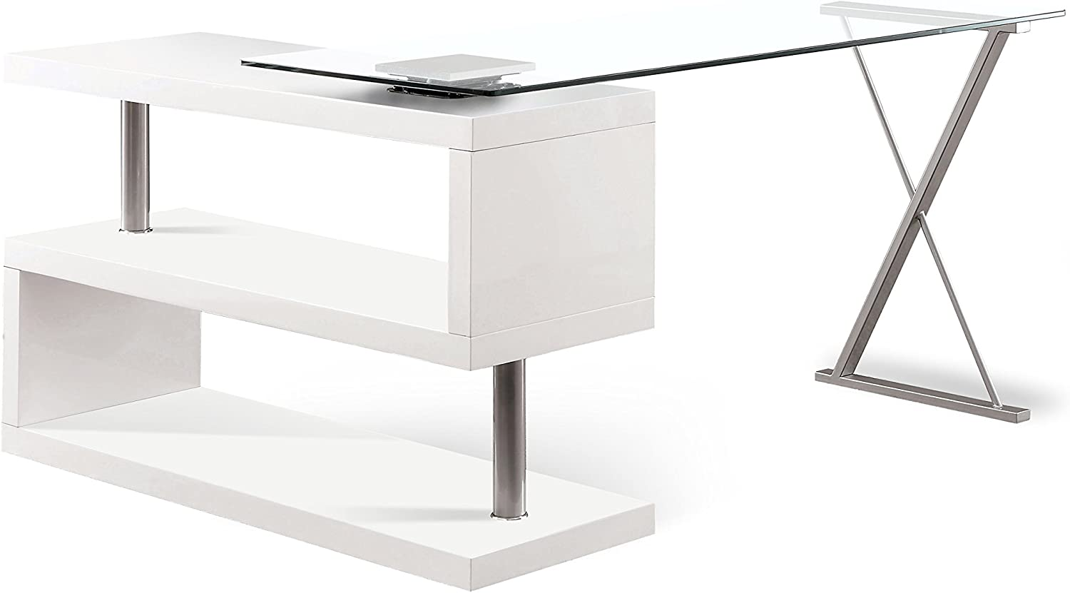 Furniture of America Homes: Inside + Out ioHOMES Lilliana White S-Shaped Glass-Top Office Desk