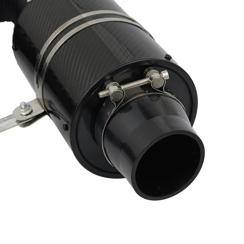 Proster Filtro di Aspirazione dellaria Fredda Universale in Fibra di Carbonio Sistema di Aspirazione dellaria per Auto con Tubo Flessibile Staffe e Fascette Stringitubo