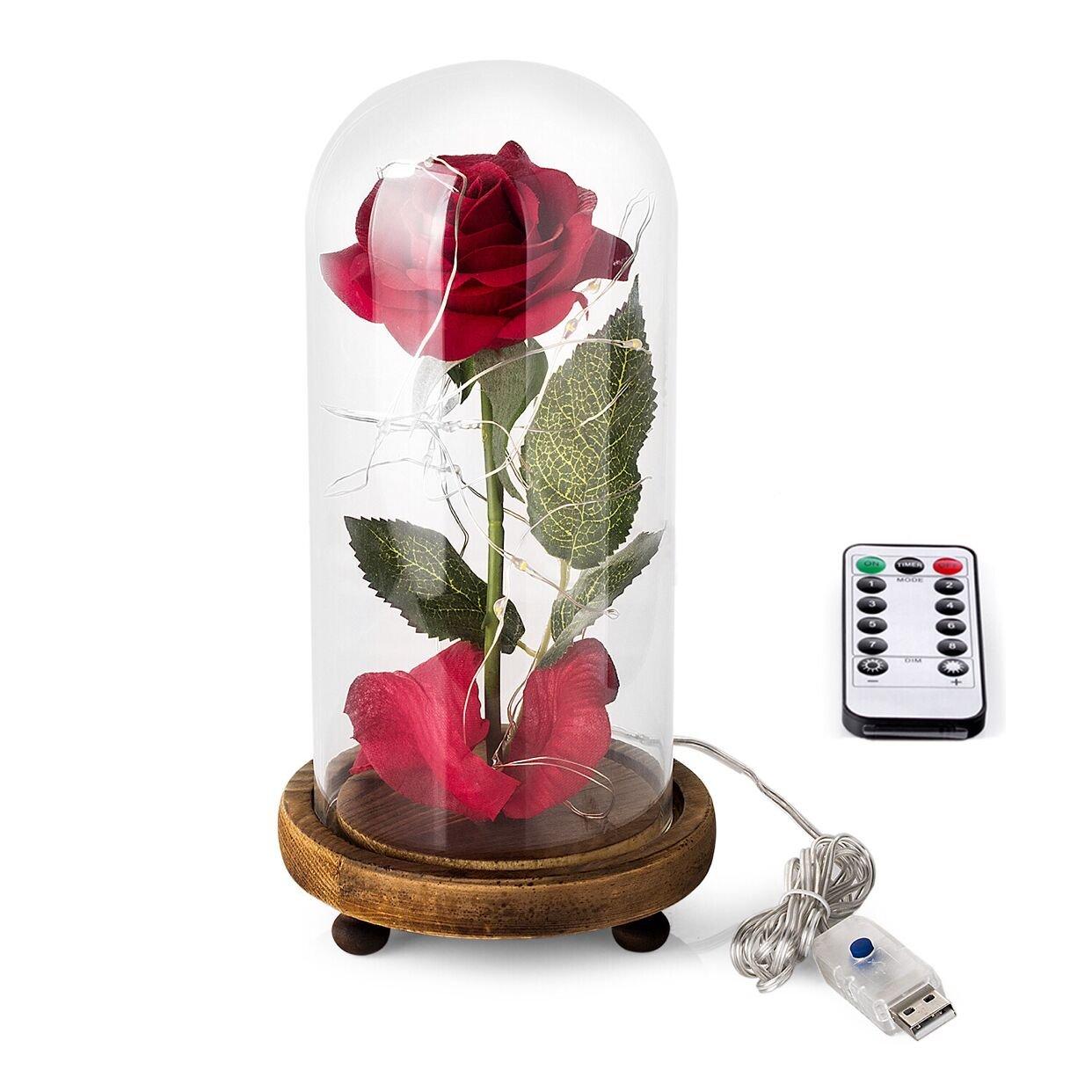 Rose en Soie Rouge et Lumi/ère LED avec P/étales tomb/és dans une coupole en verre sur socle en bois pour la d/écoration int/érieure Anniversaire Mariage F/ête des M/ères La Belle et la B/ête Kit de Rose
