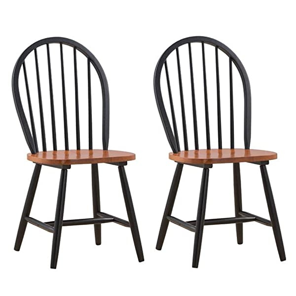 Boraam 31516 Farmhouse Chair, Black/Cherry, Set of 2