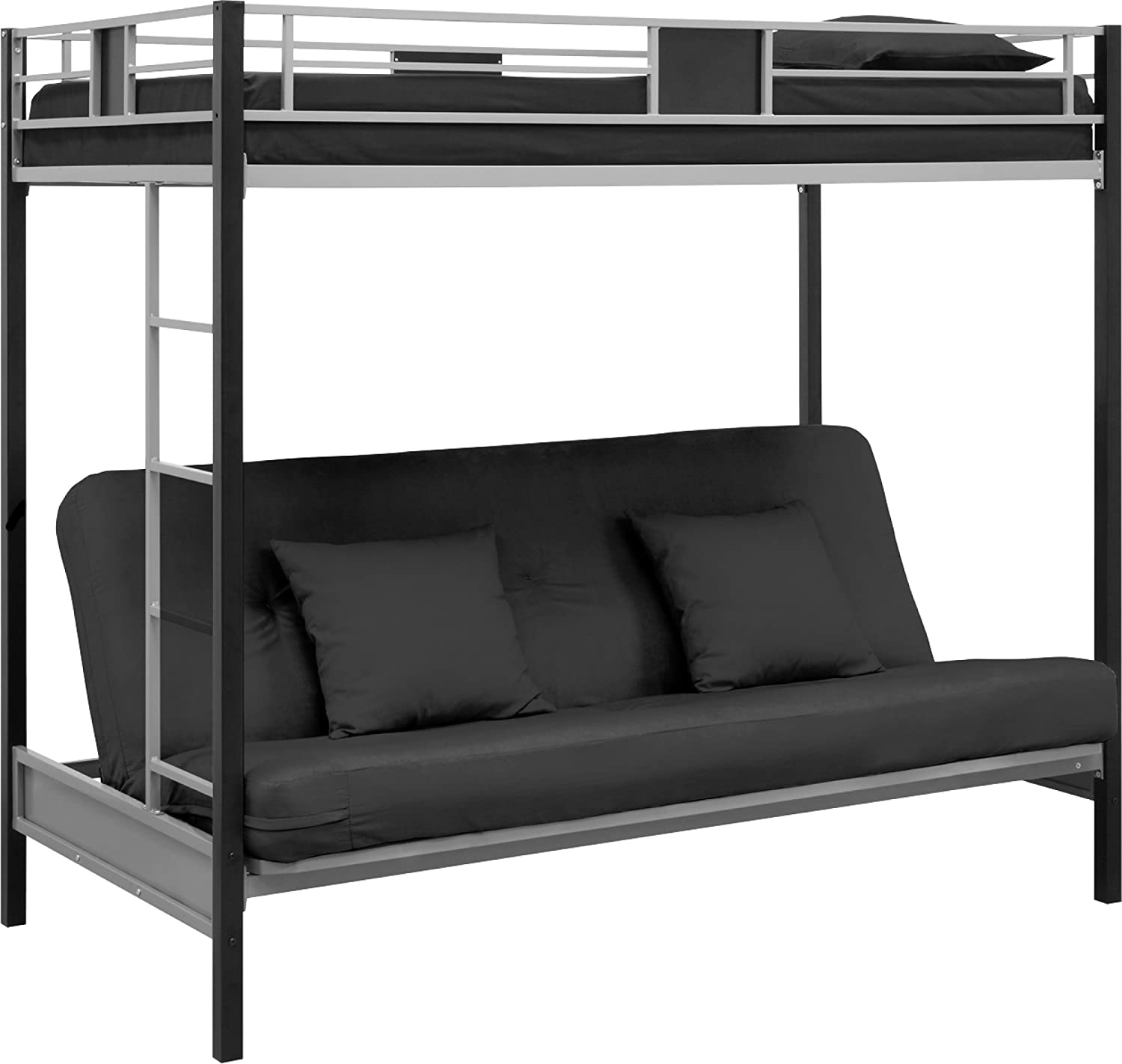 DHP Screen Over Futon Metal Bunk Bed - Silver-Black