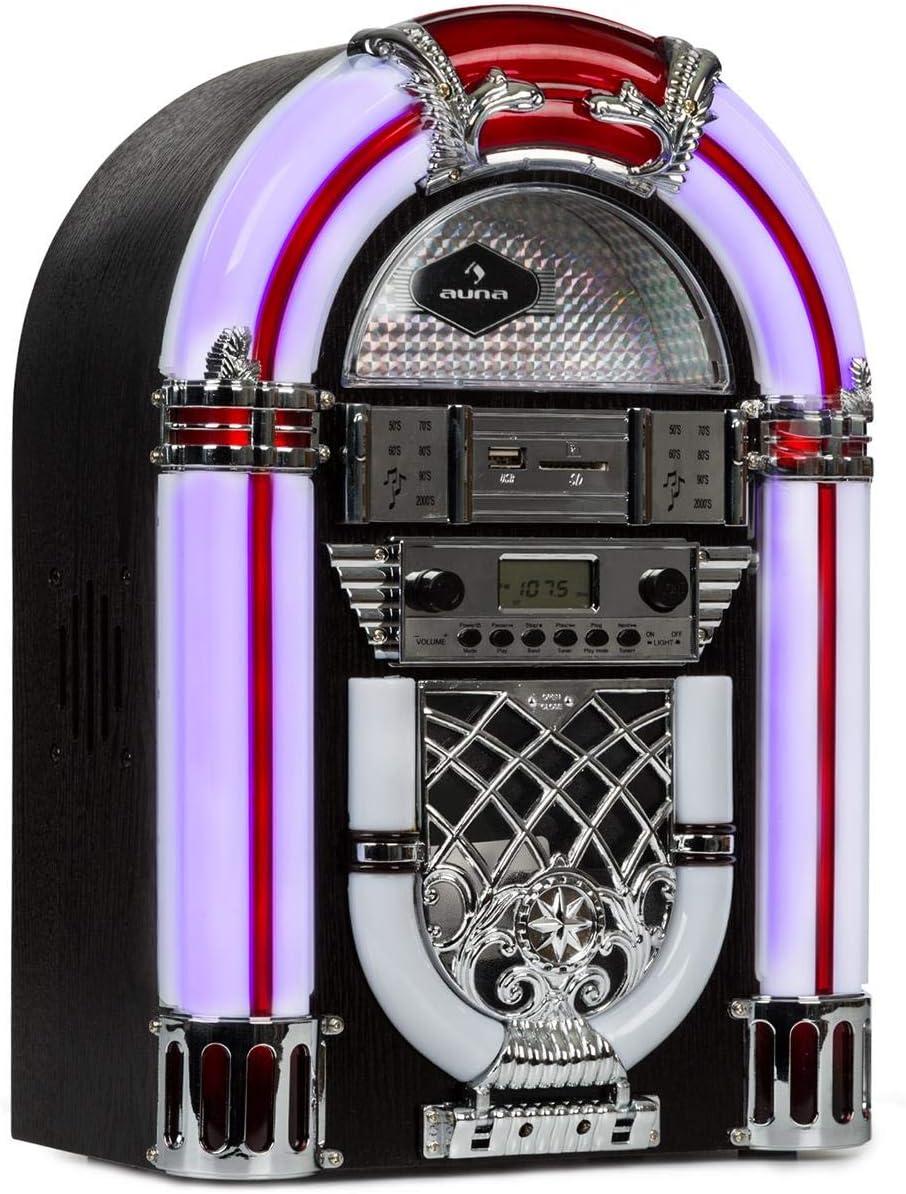 auna Equipo estéreo Retro de años 50 , Negro: Amazon.es: Electrónica