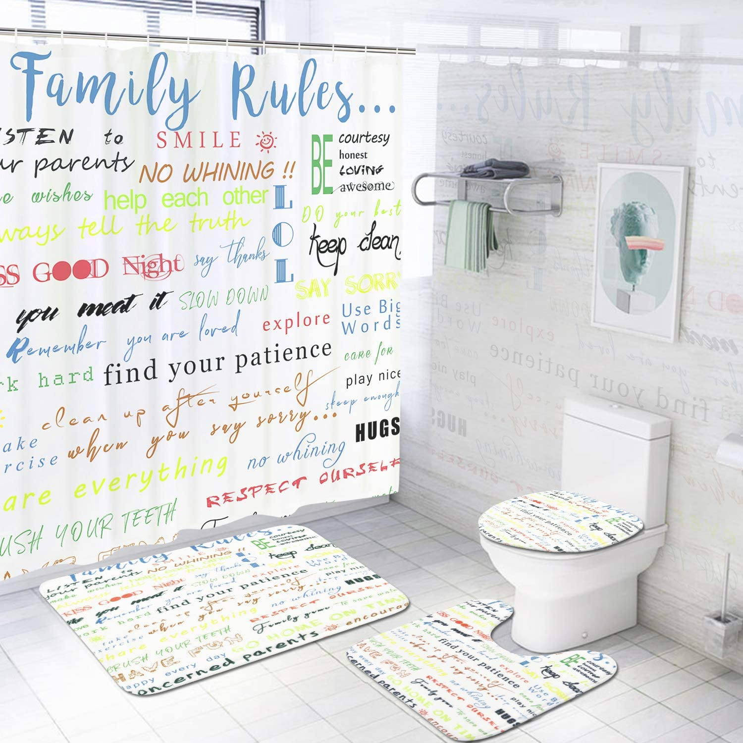 4 Pcs Family Rules Educational Shower Curtain Set with Non-Slip Rug, Toilet Lid Cover, Bath Mat and 12 Hooks, Motivational and Inspirational Quotes Waterproof Shower Curtain Sets for Bathroom