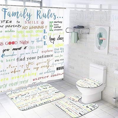 I/'M FINE Shower Curtain Set Bathroom Rug Bath Mat Non-Slip Toilet Lid Cover