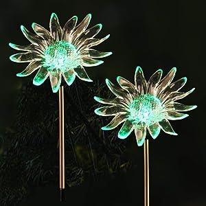 2PCS Waterproof Outdoor Solar Garden Stake Lights with Vivid Figurine –Sun Flower LED Garden Landscape Lawn Lamp for Flower Beds Backyards Decoration