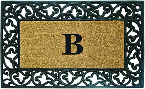 Nedia Home Acanthus Border with Rubber Coir Doormat, 30 by 48-Inch, Monogrammed B