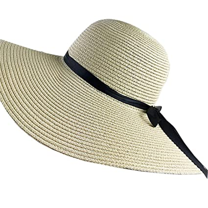 72d45df30f3 Sun Hat Hats for Women Chapeau Femme Beach Panama Straw Hat Large Wide Brim  Black Ribbon