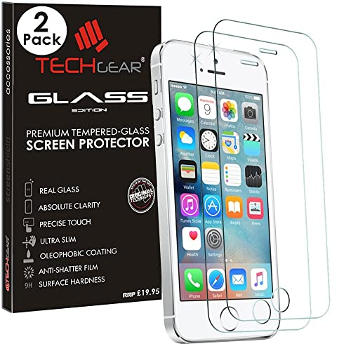 [2 Pack of] TECHGEAR® Apple iPhone SE / 5s / 5c / 5 GLASS Edition Genuine Tempered Glass Screen Protector Guard Cover (iPhone SE/5s/5c/5) …